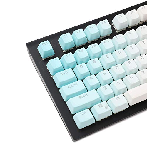 LZY Double Shot 104 Dyed Pbt Shine durch Keyset Oem Profil Keycap Set Cherry Mx Switches Mechanische Tastatur 104 87 61, Grün Weiß Farbverlauf,Blau Weiss,