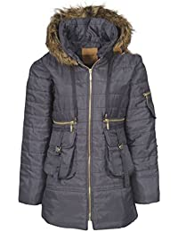 Womens Ladies Quilted Puffer Puffa Jacket Coat Parka Padded Fur Hood Winter Warm [Grey Charcoal, UK M]