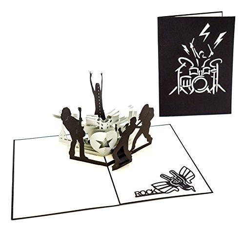 3D Klappkarte, handgearbeitete Grußkarte, Geschenk Karte, Gutschein, Rock and Roll, als Verpackung für Konzerttickets, inklusive Umschlag und Schutzfolie
