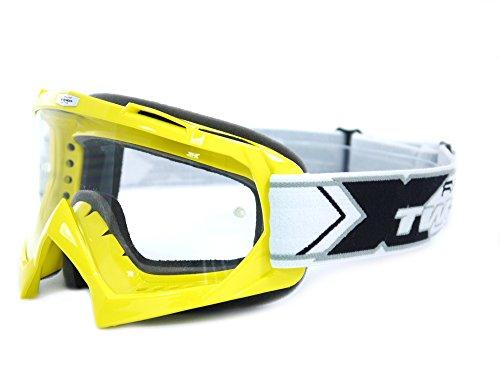 TWO-X Race Crossbrille MX Brille gelb Motocross Enduro Klarglas Motorradbrille Anti Scratch MX Schutzbrille