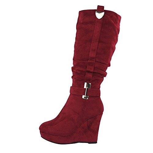 Schuhtraum Damen Stiefel Keilabsatz leicht gefüttert High Heels Boots Wedge Stiefeletten JA72 (37, ()