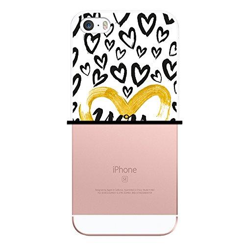 iPhone SE iPhone 5 5S Hülle, WoowCase Handyhülle Silikon für [ iPhone SE iPhone 5 5S ] Chic Stil Gestreiftes Herz Handytasche Handy Cover Case Schutzhülle Flexible TPU - Transparent Housse Gel iPhone SE iPhone 5 5S Transparent D0463