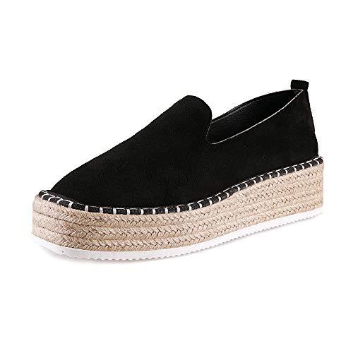 Alpargatas Plataforma Mujer Tacon Medio 4.5cm PU Ante Cuero Mocasines Elegante Zapatos Cómodo Loafers...