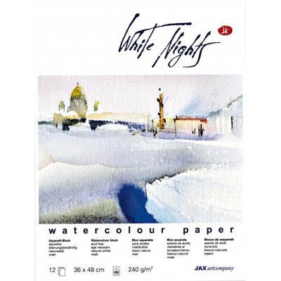 White Nights 82003 Aquarellblock (240 g/m², 30 x 40 cm) 12 Blatt