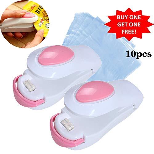 Hitzeversiegler für Beutel von Shineus, Mini-Schweißgerät zum Abdichten von Tüten/Verpackungen aus Kunststoff, Set aus 2(weiß & pink)
