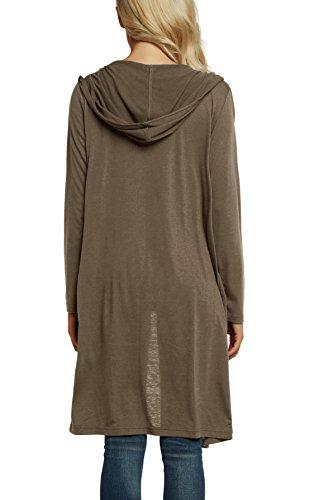Urban GoCo Donna Giacca Lunga Cardigan Cappuccio Elegante Moda Manica Lunga Maglia Outwear con Tasca Cammello