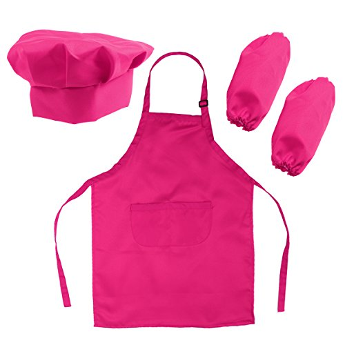 h-Set Kinderschürze Hut und Cooking Ärmel Kinder Chef Set zum Kochen Backen Malerei oder Dekoration (Rose Red) ()