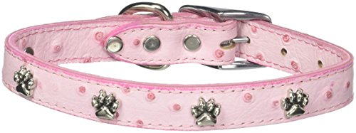 Leather Brothers 18-Inch OmniPet Faux Ostrich Dog Collar, Medium, Pink - Medium Ostrich
