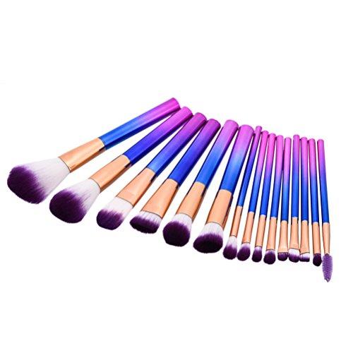 Frcolor Pinceau de Maquillage Foundation Rougir Poudre Mélange Outil de Cosmétique 15pcs