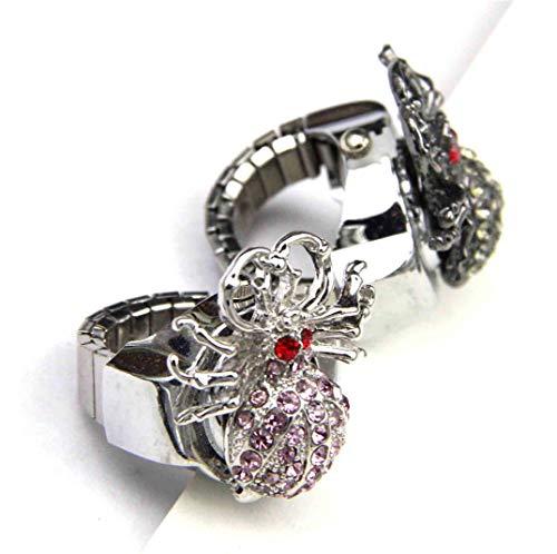 Spinne Finger Uhr Clamshell Ring Uhr, Quarzwerk Finger Uhren Ring Frauen Uhren, Männer Finger Uhr Ring Uhr Finger Herren,Silver (Spinnen Ringe)