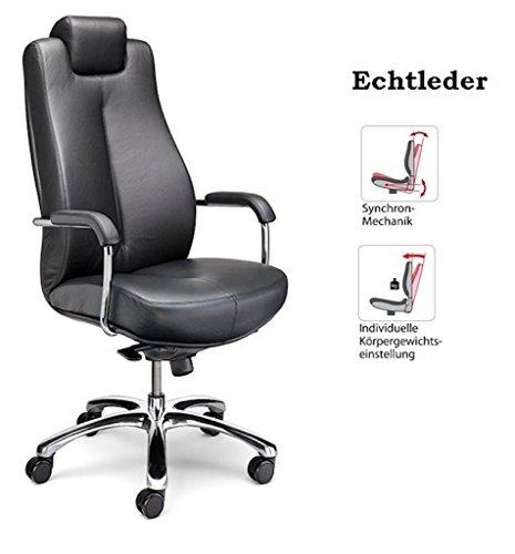 Schwerlastdrehstuhl Schwerlast Bürostuhl Drehstuhl Chefsessel bis 150kg, Echtleder, Synchronmechanik