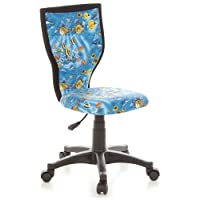 hjh OFFICE, 670085, Childrens Desk Chair, swivel chair, computer chair kids room, KIDDY LUX, Motif, mesh fabric, for children, ergonomic back, height adjustable, office task study chair,  home stool, armless, with soft-bottom rollers