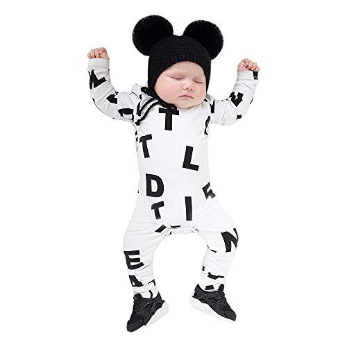 Neugeborenen Baby Jungen Mädchen Strampler Overall Kleidung Outfits feiXIANG Langarm Spielzeug Bekleidung (Weiß,80)