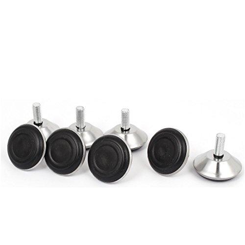 Preisvergleich Produktbild sourcingmap® M8x40mmx20mm Geschraubt Verstellbare Möbel Gleiten Ausgleichsfuß Schwarz 8 Stück