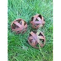 3st.Dekokugel,Metall,Edelrost, Gartenkugel ,Gartendeko, 10cm Rost,Kugeldeko