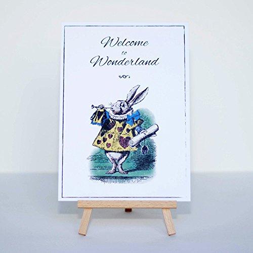 Alice in Wonderland Welcome to Wonderland Karte und Staffelei Schild Party