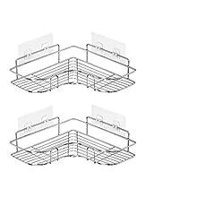 YJHome 2 Pezzi Mensola Doccia per Bagno - Senza Foratura Mensole ad Angolo - 304 Acciaio InossidabileAntiruggine Portaoggetti Doccia (Triangolo)