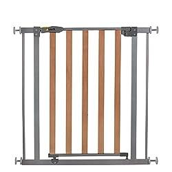 Hauck Wood Lock Safety Gate/Tür-Treppengitter, ohne Bohren, erweiterbar mit Verlängerungen von 9 cm und 21 cm bis 122 cm, kombinierbar mit Y-Spindeln, Metall, Holz, beidseitig schwenkbar, silver