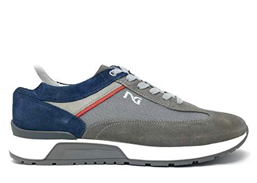 Scarpe sportive per uomo nerogiardini in camoscio grigio, taupe e blu (taglia 44)