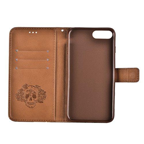 Buona Casa- Per iPhone 7 Plus Crazy Horse Texture cranio stampa orizzontale cassa in pelle con supporto e slot per carte e portafoglio e cordino ( Color : Gold ) Brown