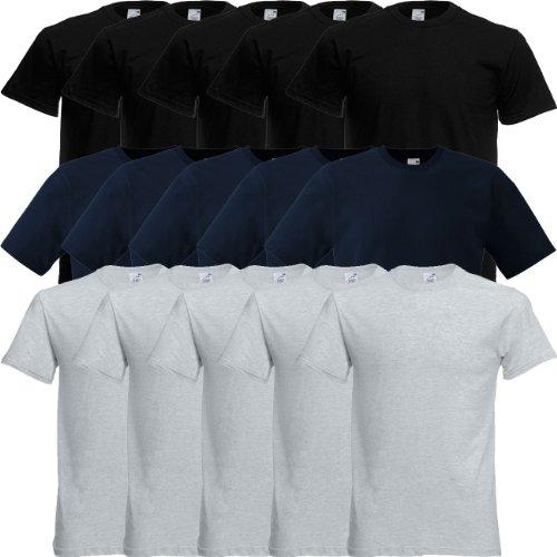 Fruit of the Loom Original Full-Cut T Rundhals T-Shirt F110 5er 10er 15er 20erPack 5x black 5x deep navy 5x heather grey