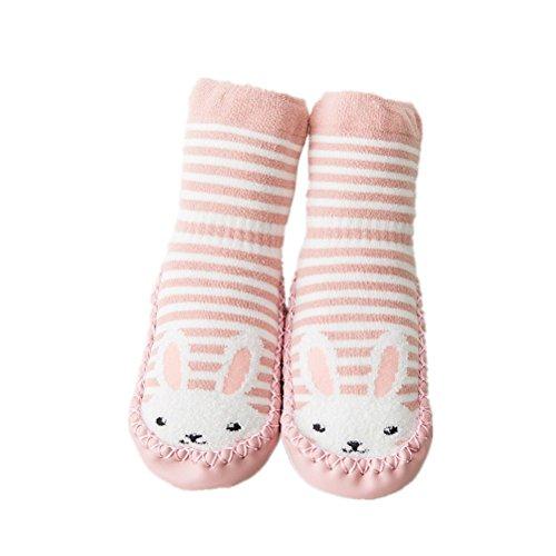 AMEIDD Babysocken,AMDUDU Baby-Jungen-Mädchen-Socken-Baumwollkinder Rutschfeste Bodensocken Infant warme Strümpfe Krabbel Hausschuhe Schuhe Stiefel (S/6-12 Monate, Rosa)