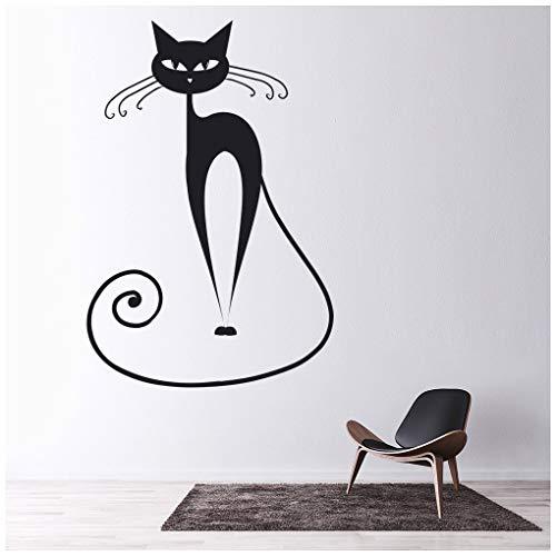 Katze Wandtattoo Hauskatzen Wand Sticker Kinder Halloween Wohnkultur verfügbar in 5 Größen und 25 Farben X-Groß Blatt Grün ()