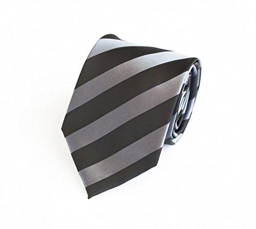 Moderne Fabio Farini Krawatte 6 cm in verschiedenen Farben, Schwarz-Grau gestreift
