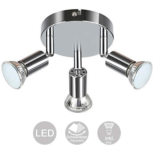 Creyer Orientable y Giratoria Foco LED Para Techo, Moderno Redondos Plafón 3...