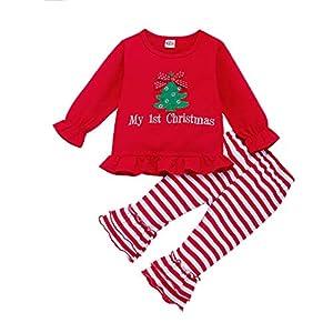 Greenwind Conjuntos de Pantalones a rayasBebés Bebés Niñas Chritmas Papá Noel Tops Pantalones Acampanados a Rayas Pantalones Conjuntos 11