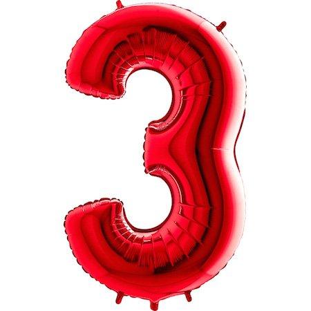 on Zahl 3 (Rot) - XXL Riesenzahl 100cm Ballon - Helium Luftballons für Geburtstag, Partydeko, Hochzeit (Zahl 0, Silber) (3 Ballon)