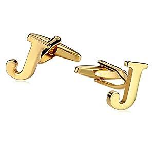 Aooaz 1 Paar Männer Herren Manschettenknöpfe Edelstahl Alphabet Buchstabe J Gold Hochzeit Hemd Manschettenknopf 1.5×0.9cm