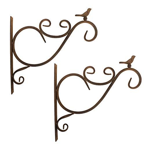 Lewondr Wall Hanging Plants Bracket, 2 Pieces Retro Bird Wrought Iron Hanging Flower Hooks Rack Wall Bracket for Plant Basket Lanterns with Screws, Garden Balcony Outdoor Décor