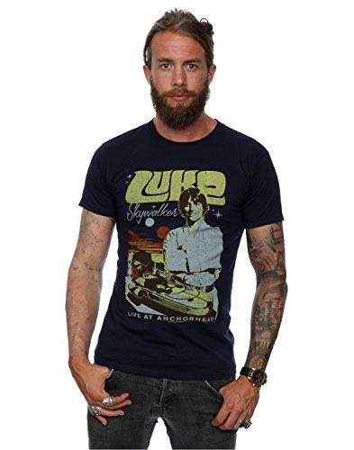 Preisvergleich Produktbild Star Wars Herren Luke Skywalker Rock Poster T-Shirt XX-Large Deep Navy