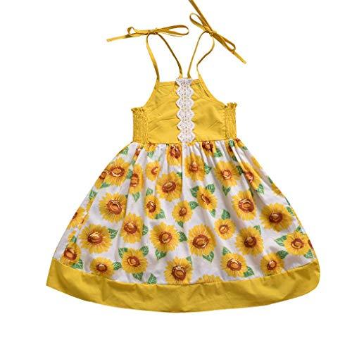 Julhold Kleinkind Baby Kinder Mädchen Ärmellose Bänder Spitze Sonnenblumen Sommer Prinzessin Kleid Sommer lässig