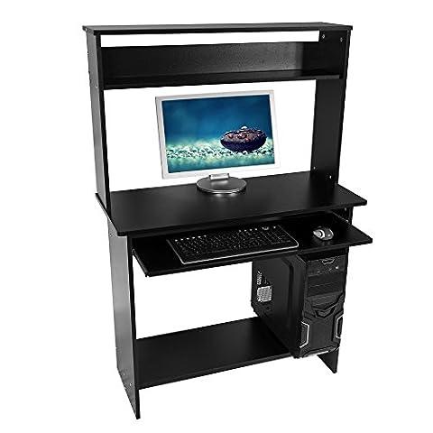 Harima - Rialto Professionnel D'angle Poste de travail informatique / Table Informatique Meuble de bureau pour ordinateur avec tablette coulissante porte clavier Accueil PC de bureau - Noir
