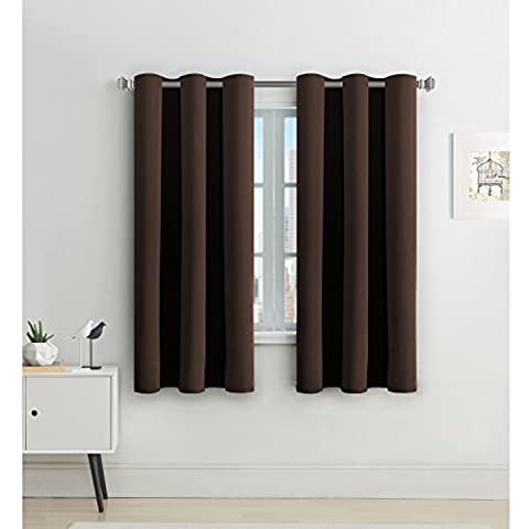 Eyelet Blackout Curtains Window Treatment - Eyelet Blackout Curtains Window Treatment - H.Versailtex Ready Made Thermal Insulated Blackout Curtains Drapery Panels for Bedroom / Living Room Energy Saving & Noise Reducing with Two FREE Tiebacks - Brown, 46