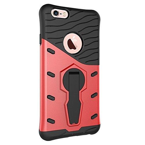 Schutzhülle für iphone 6S (4.7 Zoll), Blau Hybrid Handy Schutzhülle Tasche Dual Layer aus Hart PC und Silikon Armor Case Ständer Schale Tasche für Apple iphone 6 / 6S 4.7'' Smartphone Rot