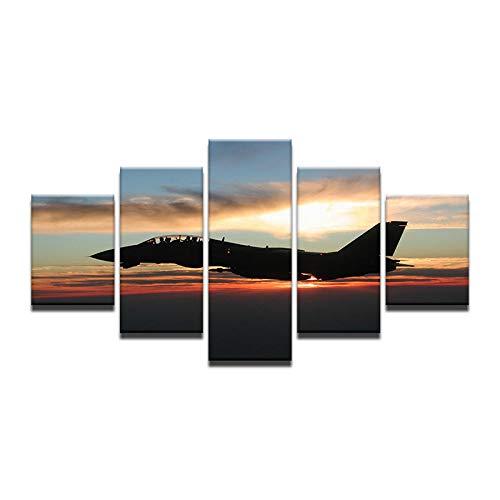 HIIPU Wandkunst Leinwand Malerei 5 stück Golden Sunset HD Druck Wand Leinwand Kunst Flugzeug Poster Für Raum Dekoration Drop Shipping Freies Verschiffen @ No_Frame_30X40_30X60_30X80cm -
