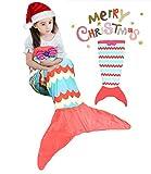 Meerjungfrau-Schwanz-Aussehen-Decke Bequemes Material Vier Jahreszeiten verwendbar das späteste Art-Mädchen-Schlafsofa Behalten Sie warmes weiches (ROT BLAU)
