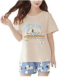 Mujer Modernas Casual Pijama Conjunto Camisetas + Pantalon Corto 2 Piezas Verano Manga Corta Cuello Redondo