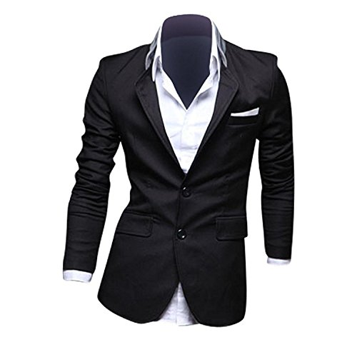 2015 Neu Herren Slim Fit Sakko Blazer Freizeit Business Jacke Anzugsjacke Casual Formal Suit Langarm (Schwarz M)
