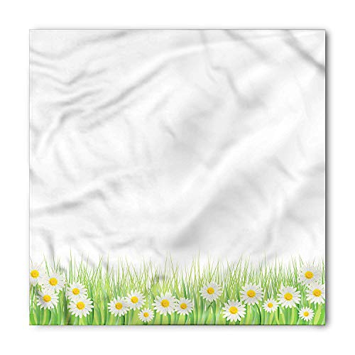 WYICPLO Flower Bandana, Daisies in the Grass, Unisex Head and Neck Tie,23.6 * 23.6inch Daisy Swag