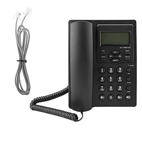 Eboxer LCD-Display Schnurgebundenes Telefon mit Freisprechfunktion 3-Gruppen-Alarme Desktop-Kabelgebundenes Telefon für Büro (Schwarz) Telefon Schnur