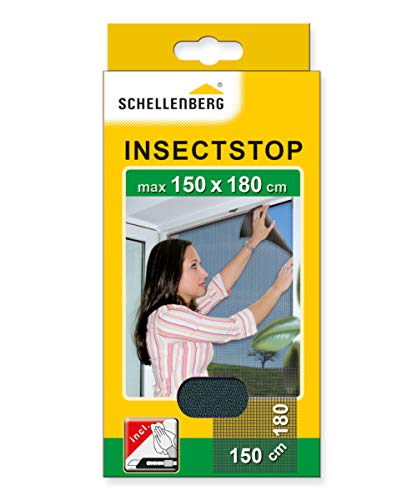 Schellenberg 20409 Fliegengitter Insektenschutz für große Fenster, Mückenschutz inkl. Klebestreifen, ohne Bohren, 150 x 180 cm
