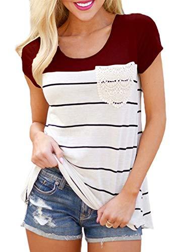 Flying Rabbit Damen Shirt Sommer Kurzarm Farbblock Streifen Tops Rundhals Bluse, Stil1-weinrot, M (Oberteile Die Für Schule Süße)