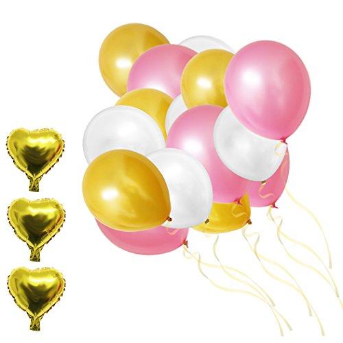 n-Set 30,5cm Gold, Rosa u. Weiße Party Latex-Ballons und Folienballons von Belle Vous - Für Geburtstag, Kinder-Partys, Baby-Partys, Abschluss- u. Hochzeitsfeiern - Dekor Zubehör (Gold-und Rosa-party)