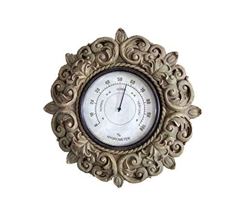 LB H&F XXL Hygrometer im Antik Stil für Garten und Terrasse Ø ca 40 cm - dekoratives Hygrometer im Vintage Design