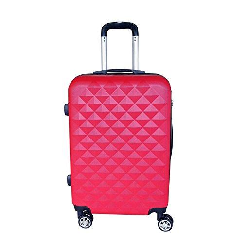 QTC XL Hartschalen Reisekoffer Kairo mit 4 Doppelrollen und Sicherheits Zahlenschloss 95 Liter Fassungsvermögen (Rot)