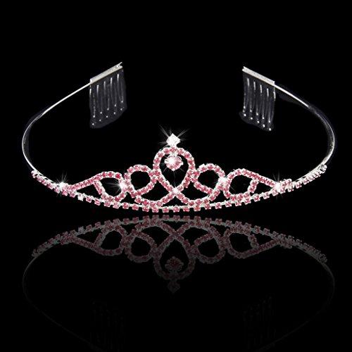 Los Ni?os De Boda Del Florista Corona De La Tiara Diadema Con Diamantes De Imitaci¨®n Peine Rosa